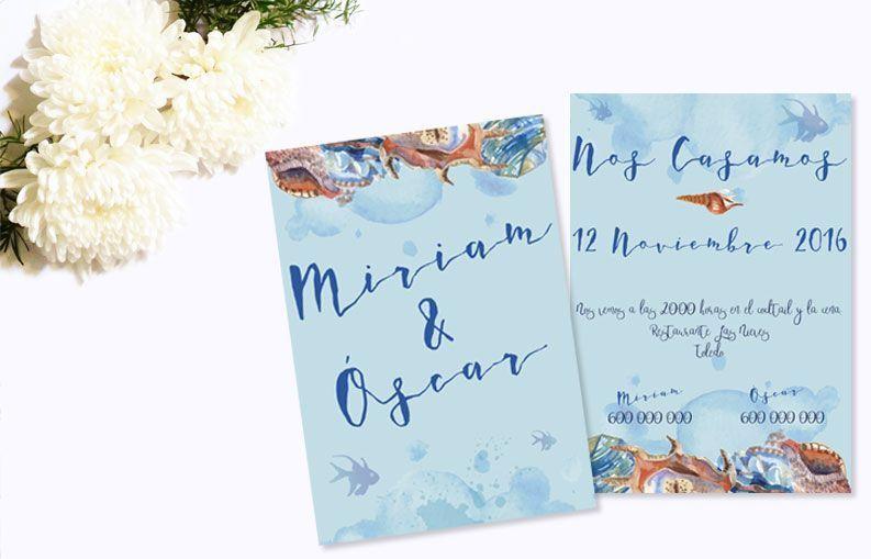 Invitaciones de boda originales con olor a mar: Colección Corales