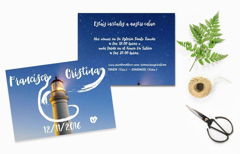 Invitaciones de boda con fotografía: Colección Faro