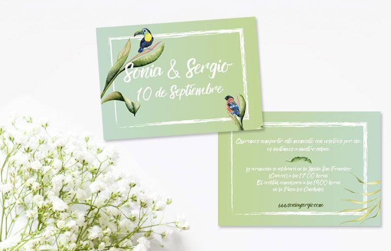 Invitaciones de boda originales: Colección Birdy
