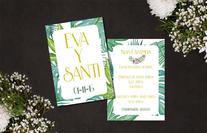 Invitaciones de boda palmeras