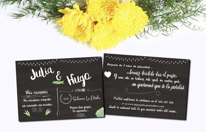Invitaciones de boda Pizarra