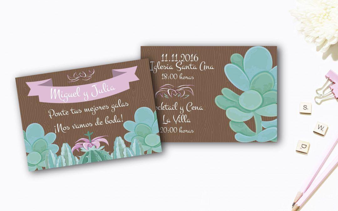Madera y plantas: unas invitaciones personalizadas naturales