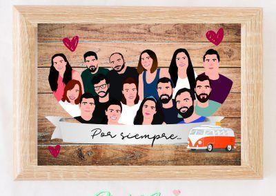 ilustracion-personalizada-grupo-amigos-amigas-pixel-and-love
